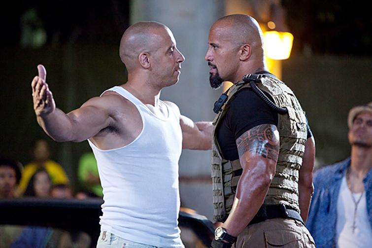 El duelo de músculos entre Diesel y Johnson es uno de los highlights de la quinta entrega.