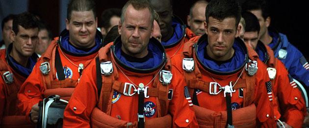 """Bruce Willis y compañía en """"Armageddon"""", uno de los filmes del género más taquilleros."""