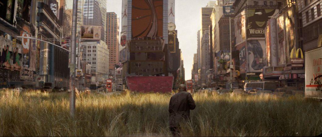 """El apocalipsis zombi convierte a Nueva York en una jungla en """"Soy leyenda""""."""