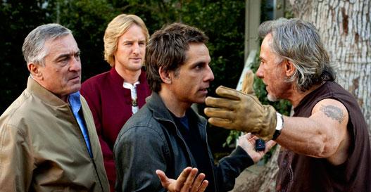 """Robert de Niro, Ben Stiller, Owen Wilson y Dustin Hoffman en """"Los pequeños Fockers"""""""