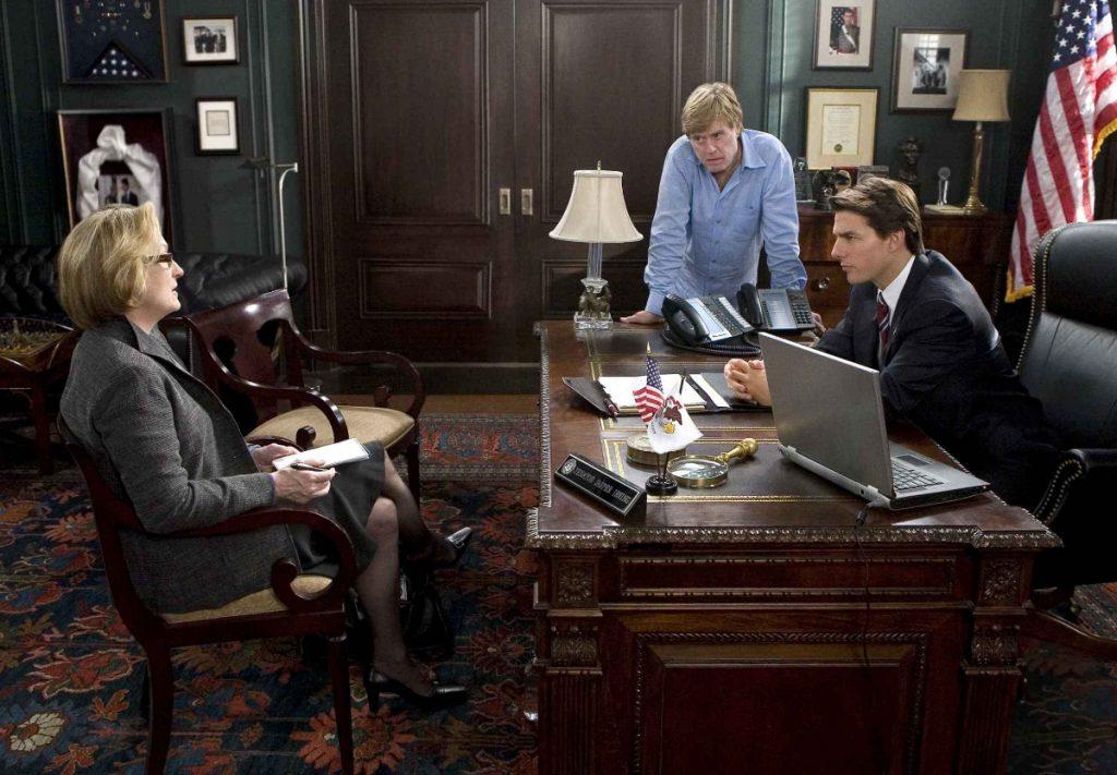 """Redford, Meryl Streep y Tom Cruise en """"Leones por corderos""""."""