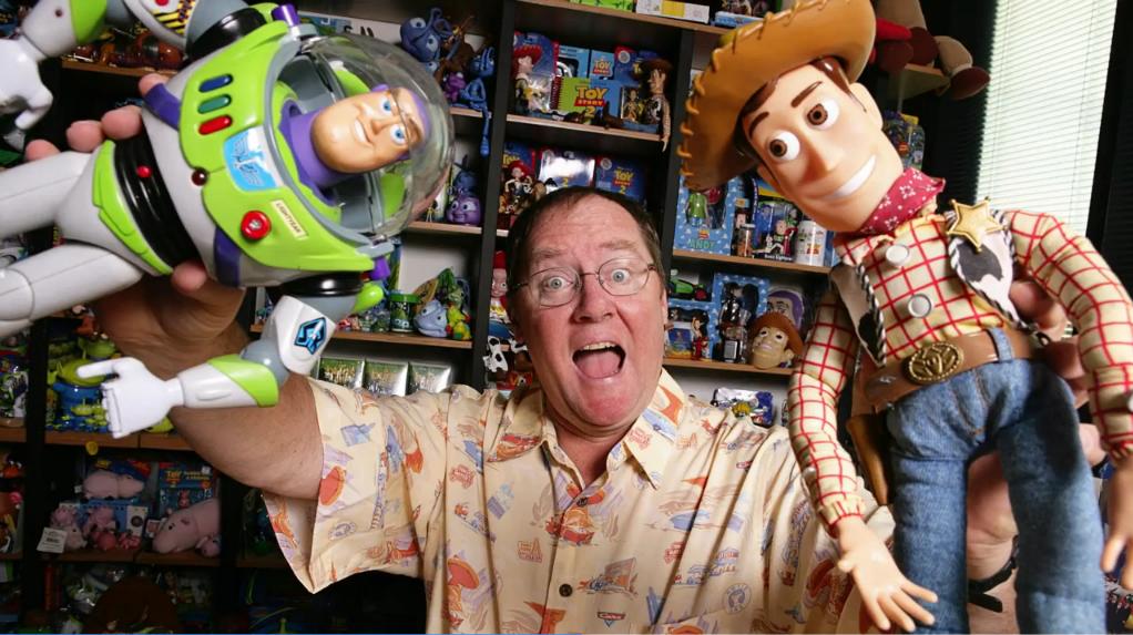 John Lasseter con Woody y Buzz.