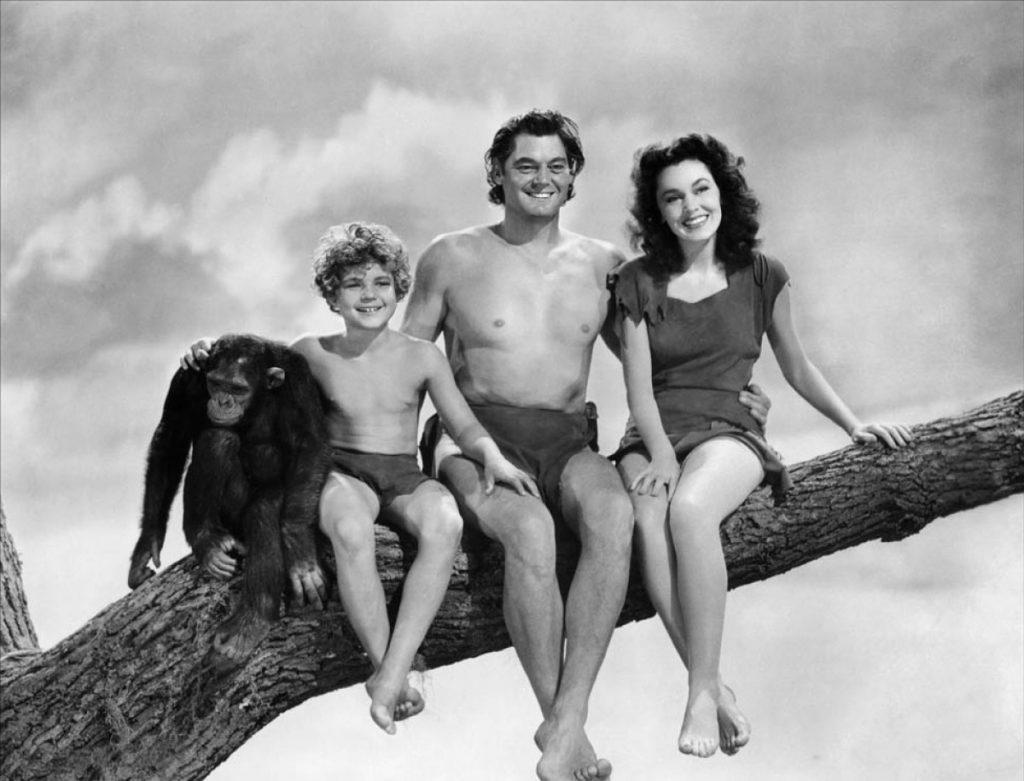 Johnny Weissmuller y su familia.